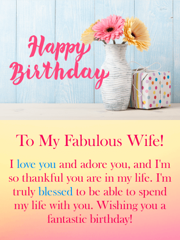 Pastel Flowers Happy Birthday Card For Wife Birthday Greeting Cards By Davia