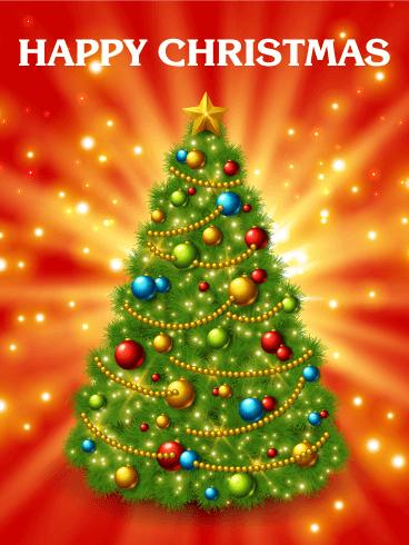 Super Shining Christmas Tree Card Birthday Amp Greeting