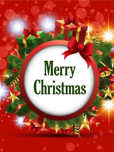 Christmas Wreath Cards 2019 Merry Christmas Wreath Greetings 2019 Birthday Amp Greeting Cards