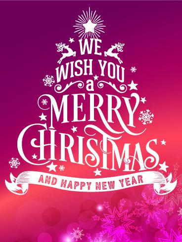 Typographic Style Merry Christmas Card Birthday