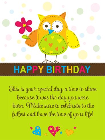 Super Cute Owl Happy Birthday Card Birthday Greeting Cards By Davia
