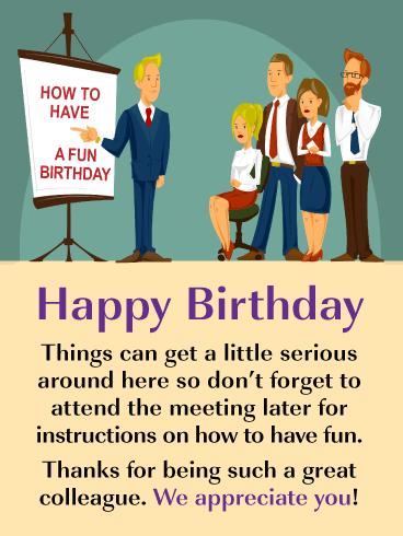 Birthday Instructions Happy Birthday Card For Colleague Birthday Greeting Cards By Davia