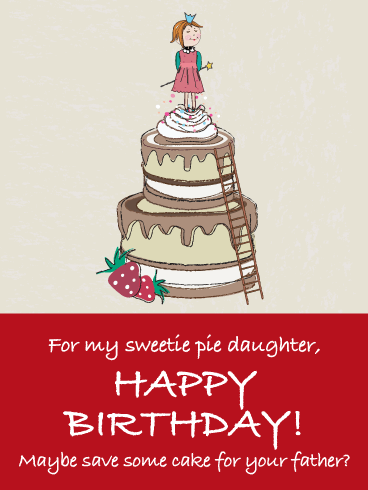 Save Dad Some Cake Funny Birthday Card For Daughter From Father Birthday Greeting Cards By Davia