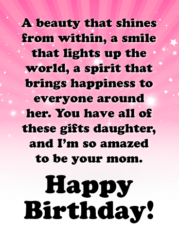 You Bring Lots Of Happiness Happy Birthday Cards For Daughter From Mother Birthday Greeting Cards By Davia