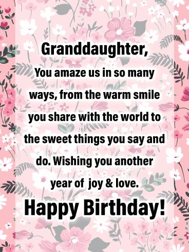 Joy Love Happy Birthday Cards For Granddaughter Birthday Greeting Cards By Davia