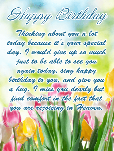 Missing You Happy Birthday Card For Everyone In Heaven Birthday Greeting Cards By Davia