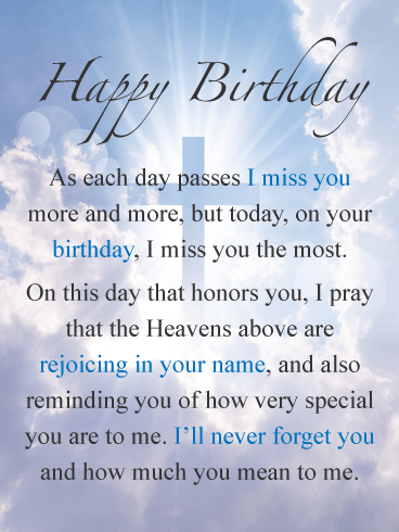 The Day I Miss You The Most Happy Birthday Card For Everyone In Heaven Birthday Greeting Cards By Davia