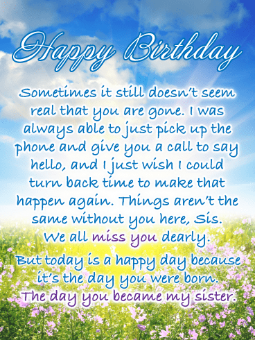 I Miss You Dearly Happy Birthday Card For Sister In Heaven Birthday Greeting Cards By Davia