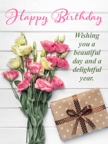 Fabulous Flowers Happy Birthday Card Birthday Greeting Cards By Davia
