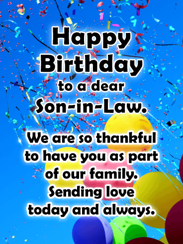 Thankful For You Happy Birthday Card For Son In Law Birthday Greeting Cards By Davia