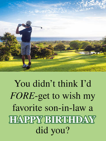 Funny Golfing Card Happy Birthday Wishes For Son In Law Birthday Greeting Cards By Davia