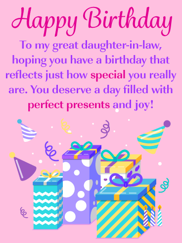 Perfect Presents Happy Birthday Card For Daughter In Law Birthday Greeting Cards By Davia