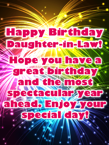 Spectacular Fireworks Happy Birthday Card For Daughter In Law Birthday Greeting Cards By Davia