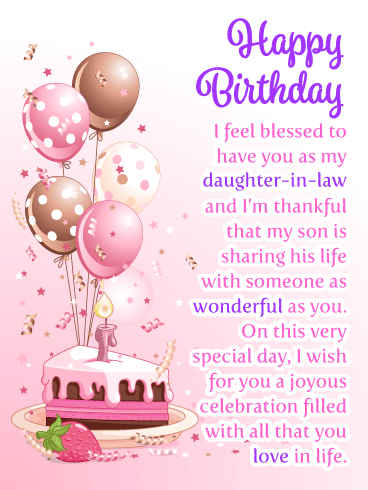 Joyous Celebration Happy Birthday Card For Daughter In Law Birthday Greeting Cards By Davia