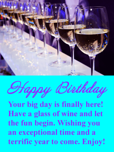 Enjoy The Wine Happy Birthday Card Birthday Greeting Cards By Davia
