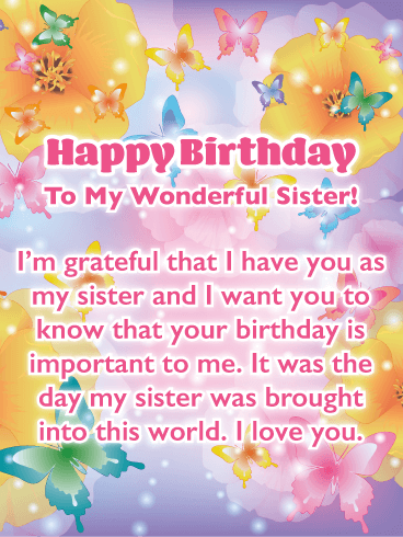 Beautiful Butterflies Birthday Card For Sister Birthday Greeting Cards By Davia