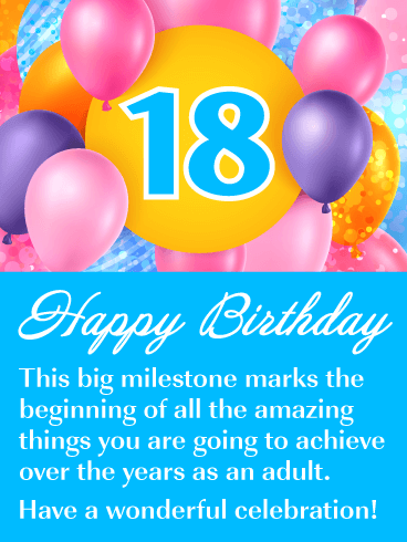 It S Just The Beginning Happy 18th Birthday Card Birthday Greeting Cards By Davia