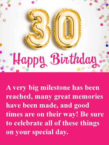 Great Memories Happy 30th Birthday Card Birthday Greeting Cards By Davia