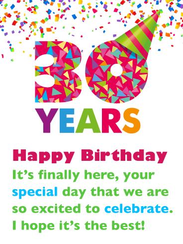 Fun Party Hat Happy 30th Birthday Card Birthday Greeting Cards By Davia