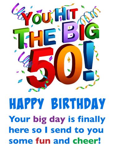 Fun And Cheer Happy 50th Birthday Card Birthday Greeting Cards By Davia