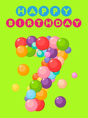 Fun Bubbles Happy 7th Birthday Card Birthday Greeting Cards By Davia
