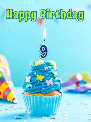 Yummy Cupcake Happy 9th Birthday Card Birthday Greeting Cards By Davia