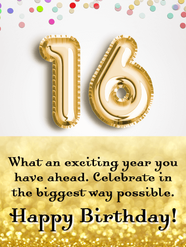 Sweet 16 Or Super 16 Happy 16th Birthday Card Birthday Greeting Cards By Davia
