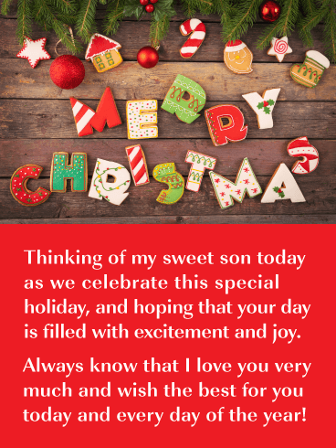 Holiday Cookies Merry Christmas Card For Son Birthday