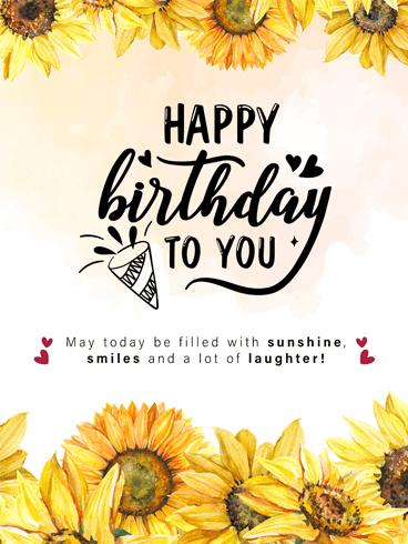 Sunny Sunflower Happy Birthday Card Birthday Greeting Cards By Davia