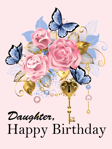 To My Beautiful Daughter Butterfly Happy Birthday Card Birthday Greeting Cards By Davia