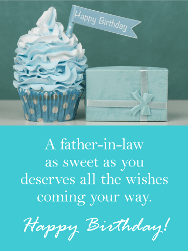 Blue Cupcake Happy Birthday Card For Father In Law Birthday Greeting Cards By Davia
