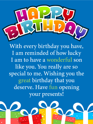 Lucky To Have You Happy Birthday Card For Son Birthday Greeting Cards By Davia