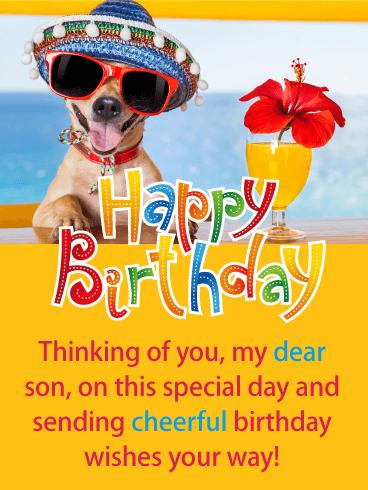 Festive Dog Happy Birthday Card For Son Birthday Greeting Cards By Davia