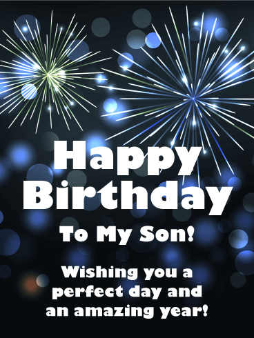 Birthday Fireworks Cards For Son Birthday Greeting Cards By Davia Free Ecards