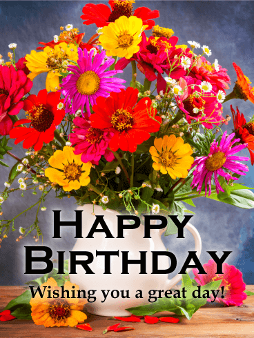 Magnificent Flower Happy Birthday Card Birthday Greeting Cards By Davia