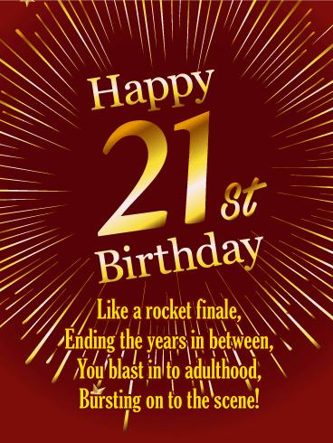 Bursting On To The Scene Happy 21st Birthday Card Birthday Greeting Cards By Davia