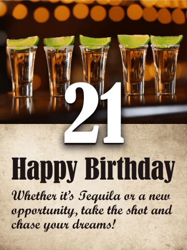 Tequila Shots Happy 21st Birthday Card Birthday Greeting Cards By Davia