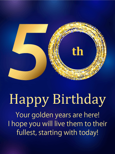 The Golden Number Happy 50th Birthday Card Birthday Greeting Cards By Davia