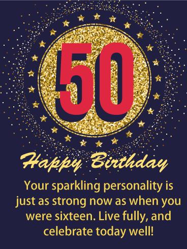 Glittering Memory Happy 50th Birthday Card Birthday Greeting Cards By Davia