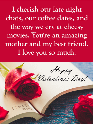 I Love You Mom Happy Valentine S Day Card For Mother Birthday Greeting Cards By Davia