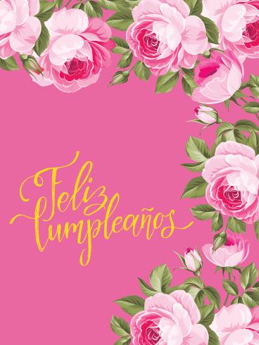Beautiful Pink Rose Happy Birthday Card In Spanish Feliz Cumpleanos Birthday Greeting Cards By Davia
