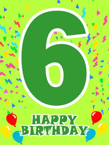 Happy 6th Birthday Card Birthday Greeting Cards By Davia