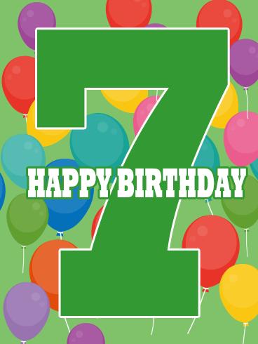 Happy 7th Birthday Card Birthday Greeting Cards By Davia