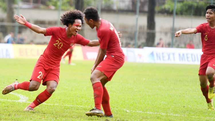 Bagus Kahfi akan merayakan gol bersama rekan satu timnya. Copyright: pssi.org