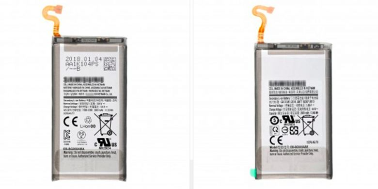 Bocoran foto komponen baterai Galaxy S9 dan Galaxy S9 Plus.