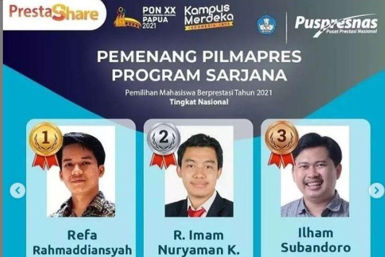 6 Mahasiswa Terbaik di Pemilihan Mahasiswa Berprestasi Nasional 2021  Halaman all - Kompas.com