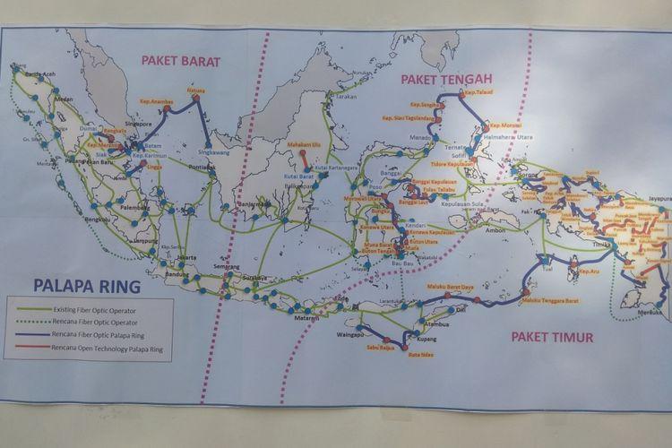 Peta pembagian proyek Palapa Ring Barat, Tengah, dan Timur.
