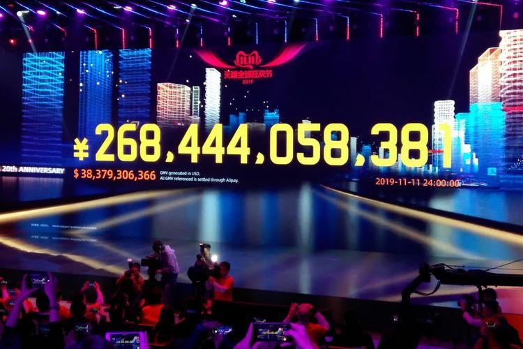 Transaksi penjualan Global Shopping festival 11.11 Tahun 2019 menembus angka 268,44 miliar Renminbi.