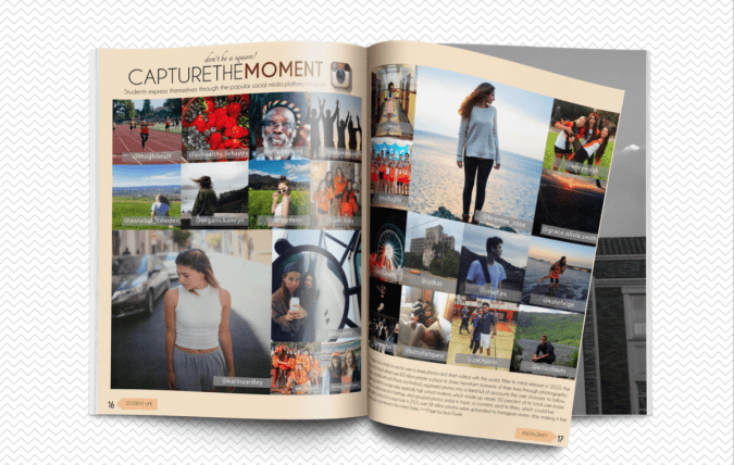 using social media to anchor a yearbook spread design