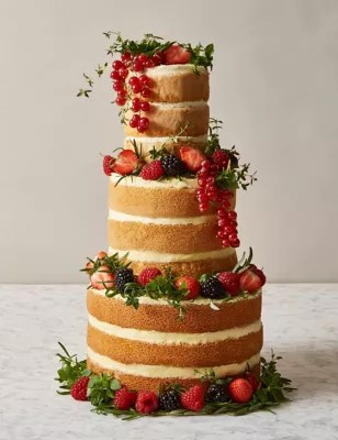 Naked Vanilla Wedding Cake 3 Tiers Serves 42 MampS